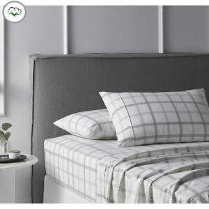Grey Grids Printed Cotton Flannelette Sheet Set by Accessorize