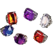 Costume Jewel Rings - Assorted Shapes & Colors - Pack of 6