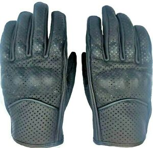 Motorcycle Leather Gloves Knuckles Perforated Snug Fitted Leather Biker Gloves