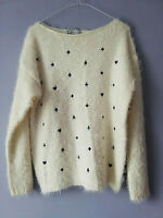 PINK BOUTIQUE WOMENS WHITE FLUFFY JUMPER SIZE 16 M/L CARD SHAPES PIT TO PIT 20