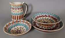 Lot of 2 Bowls a plate & a Jug Polychrome Modernist Decor Signed Art Pottery