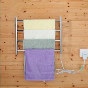 Electric Towel Heater Warmer 4 Bars Rail Plug In Wall Mounted Stainless Steel
