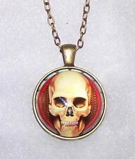Oro Antiguo Lechuza Pájaro cráneo Réplica en Negro y Oro Collar Joyería Goth