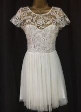 Lipsy Lace Prom Dress 10 Net Mesh Skirt Pixie Lott Low Back Cream White Party