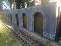Arkadenmauer, Spur G, neu, für LGB Gartenbahn, Einzelstück, 600 mm x 200 mm