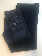 WOMENS 7 FOR ALL MANKIND A POCKET PINK Medium WASH BOOT CUT JEANS SIZE 27 X 32