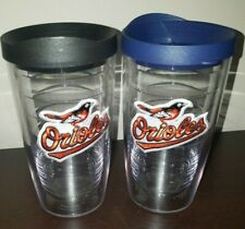 Lot of 2 Baltimore Orioles Tervis Tumbler 16oz with Lids BARELY USED