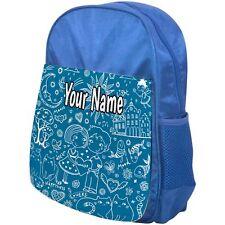 PERSONALISED CHILDRENS BACKPACK / SCHOOL BAG DOODLE BLUE