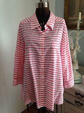 Foxcroft Women's 22w 3x Shaped Fit Cotton Candy Stripe Classic Shirt NWT Sweet!