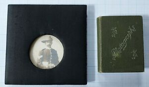 ANTIQUE VICTORIAN Miniature Photo Album & Silk Framed Military Portrait Photo.