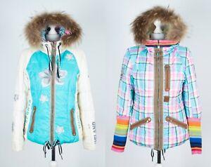 Bogner Ski Jacket 2in1 Reversible Down Winter Fur Real Feather Women's Size M