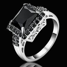 Size 6 Vintage Princess Cut Black Obsidian Wedding Ring Silver Rhodium Plated