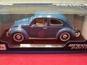 Maisto 1955 Volkswagen Beetle Kafer 1/18 scale NIB 2020 release blue exterior