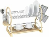 2 Tier Dish Drainer Rack Storage Drip Tray Sink Drying Draining Plates Cream