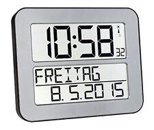 Time Line Funk Max Wanduhr übersichtliche Uhr für Senioren Seniorenuhr silber