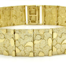 """31Gr 16mm 8.50"""" Mens 10k Yellow Real Gold Large Nugget Box Old School Bracelet"""