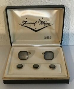 Vintage Swank Gold Tone Brown MOP Cuff Links and Buttons in Original Box A4-47
