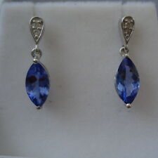 1.75ct AA Tanzanite & Diamond White Gold Drop Earrings
