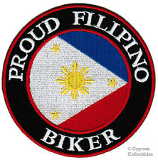 PROUD FILIPINO BIKER embroidered PATCH PHILIPPINES FLAG iron-on PINOY MOTORCYCLE