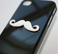 iPHONE 4 4G 4S -SNAP ON BACK PROTECTOR HARD CASE COVER BLACK & WHITE 3D MUSTACHE