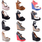New Ladies Wavy Wedges High Heels Platform Sandals Shoes Sizes UK 3 4 5 6 7 8