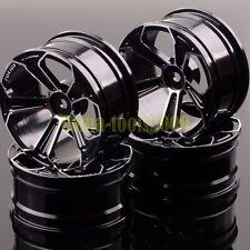 4xAluminum 5 Spoke Wheels/Rims 1053 BLACK RC 1/10On-Road Drift Sakura HSP Tamiya
