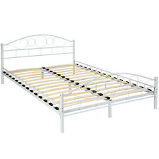 140x200cm Schlafzimmerbett Metallbett Bettgestell Bett weiß + Lattenrost B-Ware
