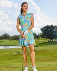 IBKUL Allison Sleeveless Zip Polo Dress Multicolor M L XL Golf UPF 50