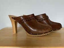 """Vintage Candies Original 1980s High Heels Mules Clogs 4"""" Leather Brown Studded"""