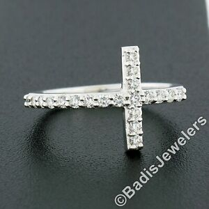 NEW 14k White Gold 0.40ctw Round Brilliant Cut Diamond Curved Cross Band Ring