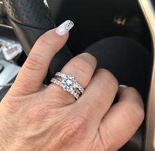 3pc Diamond Simulant Engagement Wedding Eternity Set Real SILVER 925