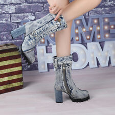 Women's Occident Denim Mid Calf Side Zip Motorcycle Stylish Boots Shoes Winter 7