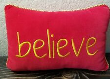 Decorative Accent Red Gold Pillow Believe Christmas Fun Decor Small