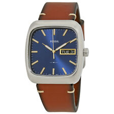 Fossil Rutherford Blue Dial Mens Leather Watch FS5334