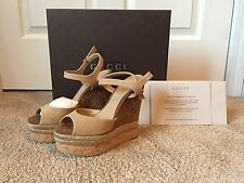 Brand New In Box Women's Gucci Shoe Hollie Suede Open Toe Wedge