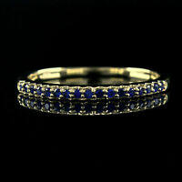 0.20Ct Round Cut Blue Sapphire 14K Yellow Gold Over Anniversary Band Ring