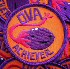OVA ACHIEVER EMBROIDERED IRON-ON ROUND PATCH I HEART GUTS/BADGE BOMB