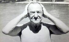 SOMERSET MAUGHAM swimming clipping 1960s Of Human Bondage author B&W photo UK