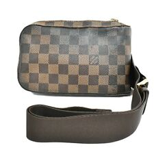 Authentic Louis Vuitton Geronimos Damier Crossbody Shoulder Body Bag Brown