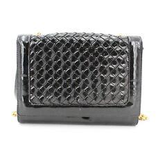 Bottega Veneta Vintage Patent Leather Woven Flap Chain Strap Mini Purse Handbag