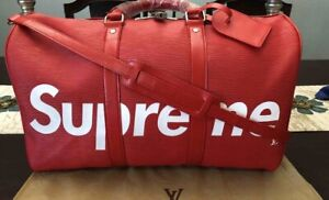 Supreme Men Modern Red Duffle/Travel Bag Faux Leather *New*
