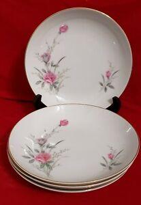 """Golden Rose Fine China of Japan Dinnerware 7 5/8"""" Salad Soup Bowls Set of 4"""