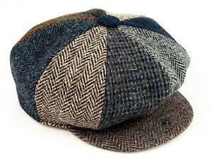 HARRIS TWEED Patchwork Baker Boy Hat  - BRITISH MADE, M, L, XL