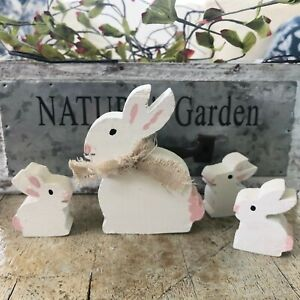 Wooden Bunny Figures Set of 4 Mamma Bunny 3 Babies Handmade Easter Spring Decor