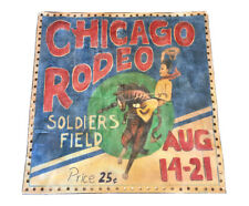 "1930s Chicago Rodeo Hand Painted Antique Banner 39"" X 39"" Large Soldiers Field"
