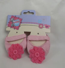 Tatty Teddy  Pink Slippers with pink flowers New