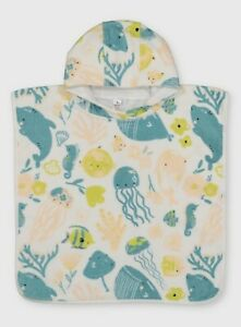 Baby's Toddlers Sealife Print Hooded Towel Poncho (One Size)