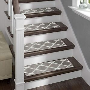 Sofia Rugs Shaggy Stair Treads Willow Carpet Runner Strips Staircase Steps Grey