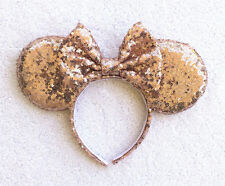 ROSE GOLD Handmade NEW Minnie Mouse Mickey Mouse Ears Bow Sequins Ears Headband