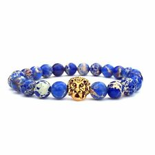 Pulsera De Jaspe Azul, pulsera unisex, pulsera de Cabeza de León, Regalo Día Del Padre